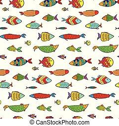 Cute colorful cartoon aquarium fishes pattern