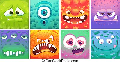 Cute colorful cartoon moster set - different facial expressions of alien animals.