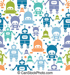 Cute colorful cartoon robots seamless pattern background -...