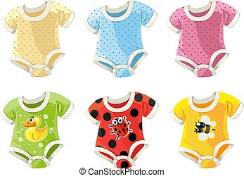 cute colorful costumes for babies vector draw