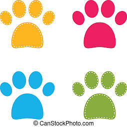 Cute colorful Doggie Paws isolated on white - Colorful...