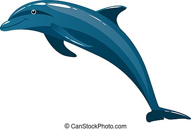 Cute colorful dolphin isolated on white background.
