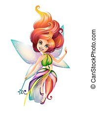 Cute colorful fairy character isolated