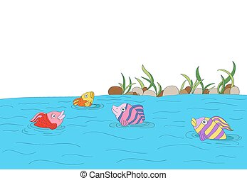 cute colorful fishes in a lake with stones, plants background