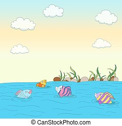 cute colorful fishes in a lake with stones, plants, sky, clouds background