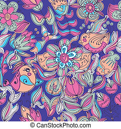 Cute colorful floral seamless pattern with bird