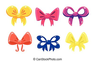 Cute colorful glossy bows set, user interface assets for mobile apps or video games vector Illustration on a white background