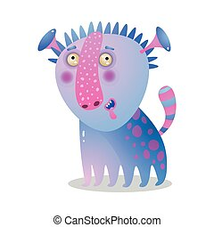 Cute colorful gradient monster like a dog with alien ears