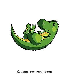 Cute colorful green dino stay on his back with closed eyes