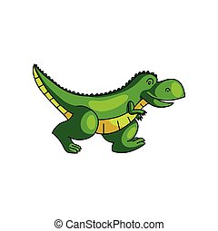 Cute colorful green dinosaur running away from zoo