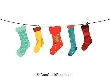 christmas socks - cute colorful hanging christmas socks in ...