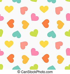 Cute colorful hearts seamless texture pattern.
