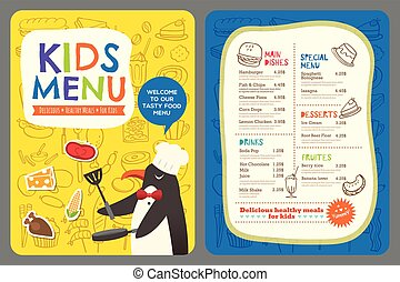 Cute colorful kids meal menu vector template with penguin cartoon