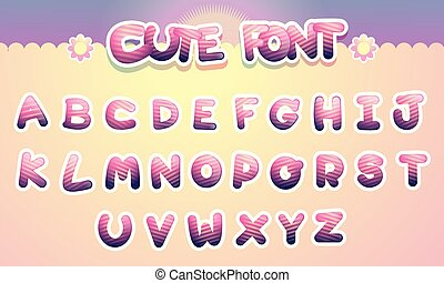 Cute colorful letters alphabet Funny Font. Cartoon vector illustration.