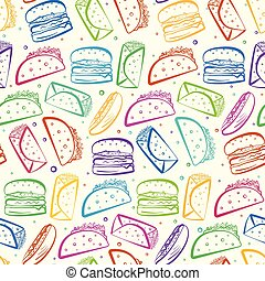 Cute colorful outline fast food on white pattern