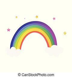 Cute colorful rainbow with clouds and stars.