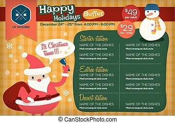 Cute colorful restaurant menu placemat with holidays christmas theme