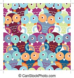 Cute colorful seamless pattern with owl. Blue, pink, purple, ora