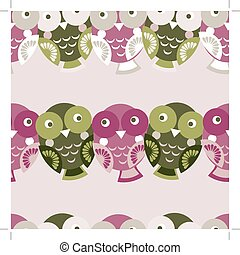 Cute colorful seamless pattern with owl. Green, pink, purple bac