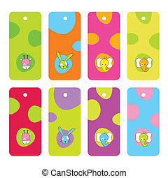 Set of colorful tags