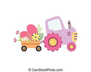 Cute Colorful Tractor with Cart Full of Flowers Vector Illustration