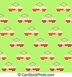 Cute colorful tram pattern, streetcar and tramway