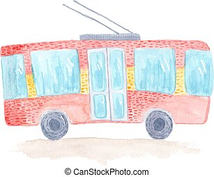 Cute colorful vector watercolor trolleybus - Cute colorful ...