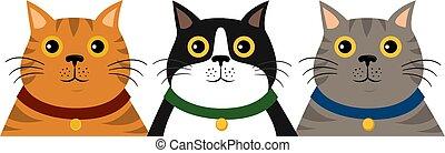 cute, coloridos, apartamento, padrão, gato, fundo, retrato, branca