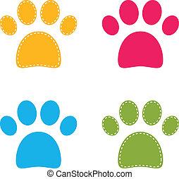 cute, coloridos, doggie, isolado, patas brancas