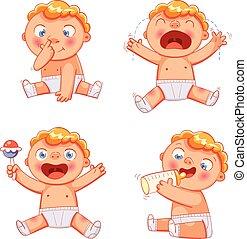 cute, coloridos, engraçado, personagem, caricatura, baby.