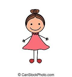 cute, coloridos, mão, cabelo, coletado, menina, desenho