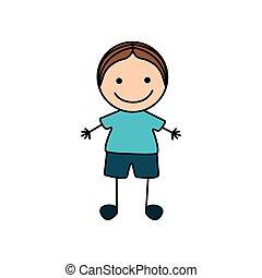 cute, coloridos, menino, mão, desenho, ícone