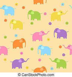 cute, coloridos, seamless, fundo, elefantes