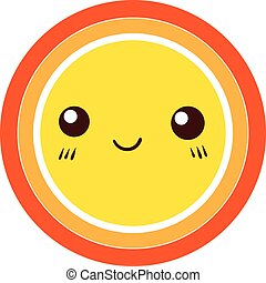 cute, coloridos, sol, vetorial, desenho, icon., element.