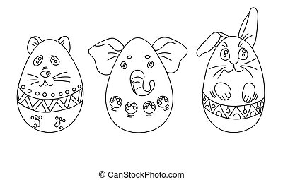 Coloring Set With Easter Eggs In A Shape Of Animals Ornaments