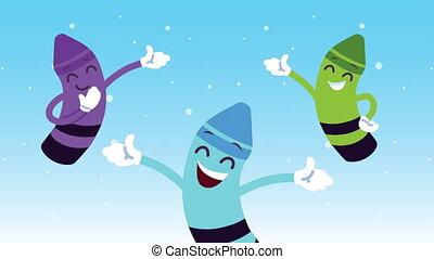 cute colors crayons kawaii comic characters animation ,4k video animated