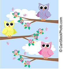 owls - cute colourful owls