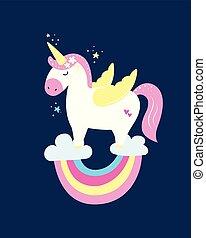 cute, colours., pastel, magiske, enhjørning, regnbue