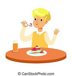 cute, comer, coloridos, menino sentando, personagem, ilustração, vetorial, tabela, loiro, bolo