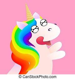 Cute comic unicorn emotion anticipation. Vector stock illustration