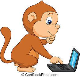 cute, computador, macaco, tocando
