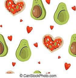 cute, conceito, abstratos, modernos, seamless, forma, padrão, abacate, isolado, caricatura, ilustrações, desenhado, branca, pizza, mão, fundo, dia, par, muitos, valentines, vetorial, corações, feliz