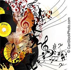 cute, conceitual, música, fundo, com, registro vinil, para,...