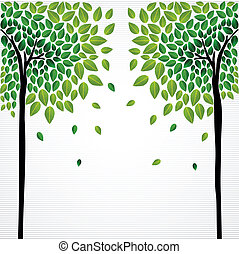 Cute concept trees drawing - Cute isolated green trees...