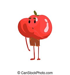 Cute Confused Tomato Vegetable Character with Funny Face Vector Illustration
