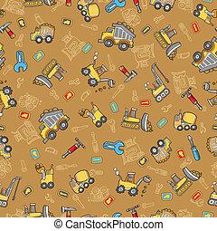 Cute Construction Seamless Pattern