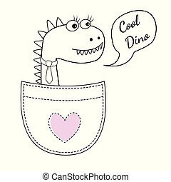 Cute cool dino girl in the pocket and with a tie isolated on white background.