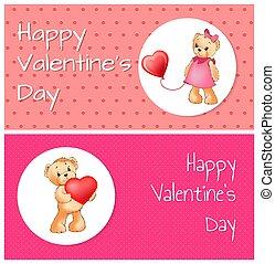 cute, coração, ursos, cartaz, balloon, pelúcia, segurando