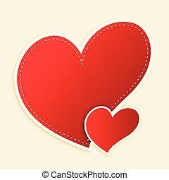cute, corações, texto, vermelho, espaço