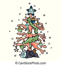 Cute coral reef christmas tree cartoon vector illustration motif set. Hand drawn isolated starfish decoration elements clipart for nautical xmas blog, seaweed tinsel graphic.